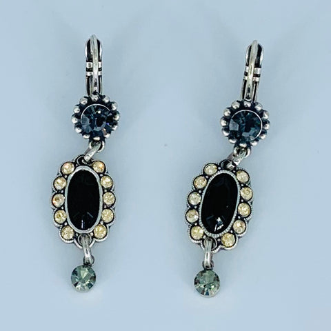 Mariana Earring Oval Drop From Embellished Wire in Black Orchid