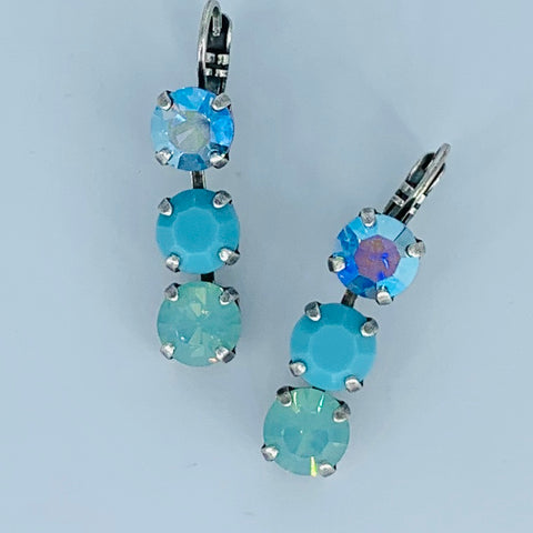 Mariana Earring Triple Drop Blues on Silver