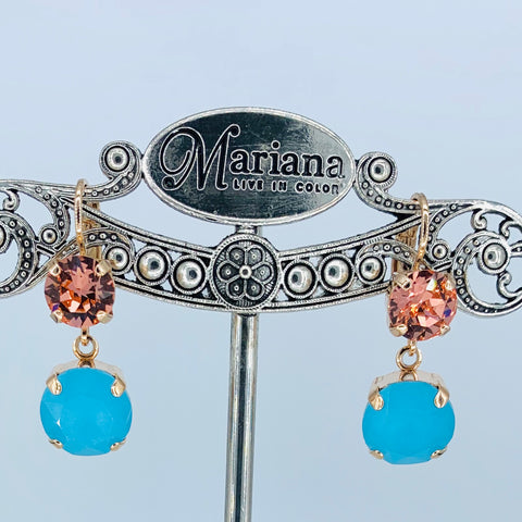Mariana Earrings Double Drop Dangle in Turquoise/Blush on Rose Gold