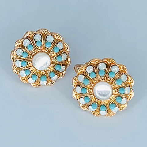 Mariana Button Earrings  Polar Paradise on Rose Gold