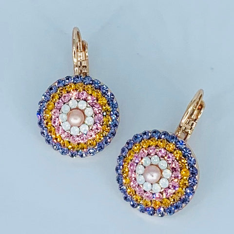 Mariana Concentric Circles Earrings Lavender/Blush  on Rose Gold