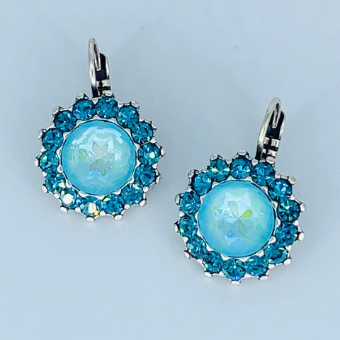 Mariana Teal Earrings on Silver Large