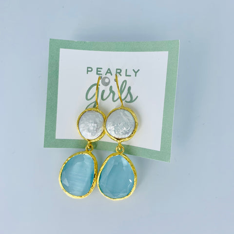 Light  Blue Turkish Cat's Eye With Freshwater Pearl on Yellow Gold