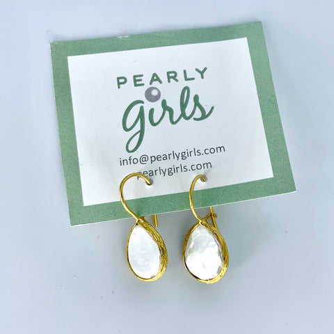 Mother of Pearl Teardrop Earrings with Gold Trim