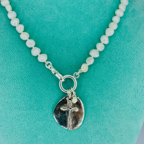 Pearl Necklace with Reversible Sterling Silver Hammered Cross