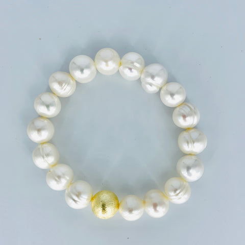 Stretchy Ring Pearl Bracelet with Single Brushed Gold Bead