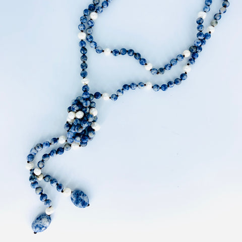 Sodalite and Pearl Lariat Necklace