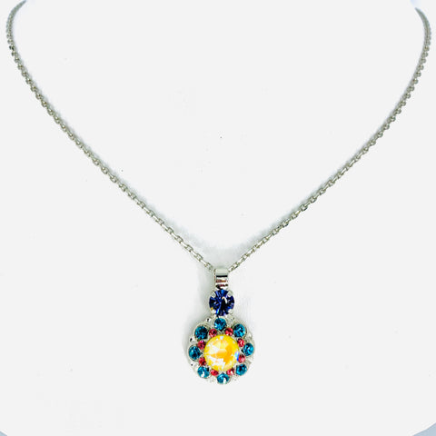 Mariana Poppy Pendant Necklace on Rhodium