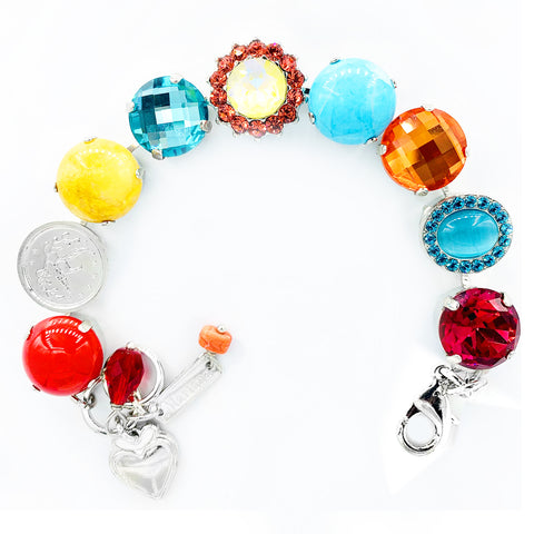 Mariana Large Poppy Bracelet on Rhodium
