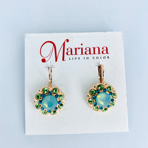 Mariana Earrings in Ivy on Rose Gold