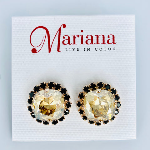 Mariana Post Earrings in Black Orchid on Rose Gold