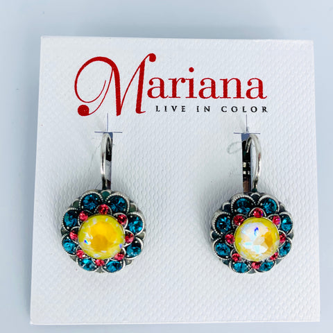 Mariana Earrings in Poppy on Rhodium