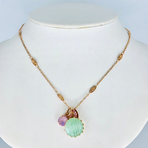 Mariana Side Car Necklace Lavender on Rose Gold