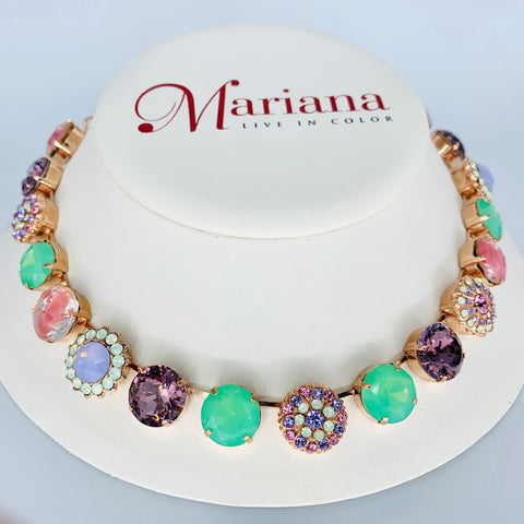 Mariana Large Necklace in Lavender on Rose Gold