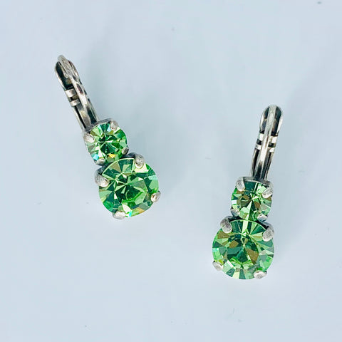 Mariana Small Double Drop Earrings Peridot on Silver