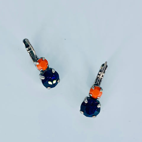 Mariana Small Double Drop Earrings Orange/Purple on Silver
