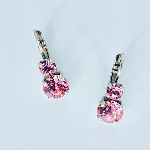 Mariana Small Double Drop Earrings Pink on Silver