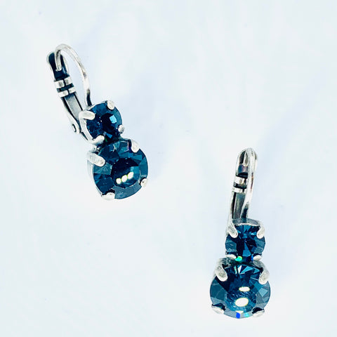 Mariana Small Double Drop Earrings Denim Blue on Silver