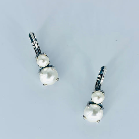 Mariana Small Double Drop Earrings Pearl on Silver