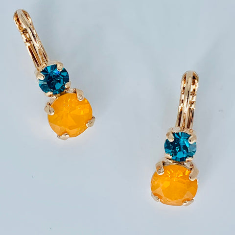 Mariana Small Double Drop Earrings Teal/Orange on Rose Gold