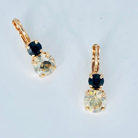 Mariana Small Double Drop Earrings in Black/Amber on Rose Gold