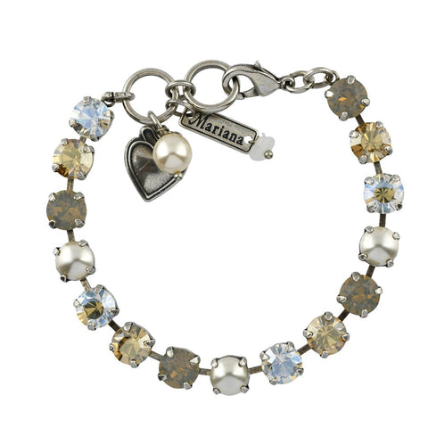 Mariana Small Bracelet in Champagne and Caviar on Silver