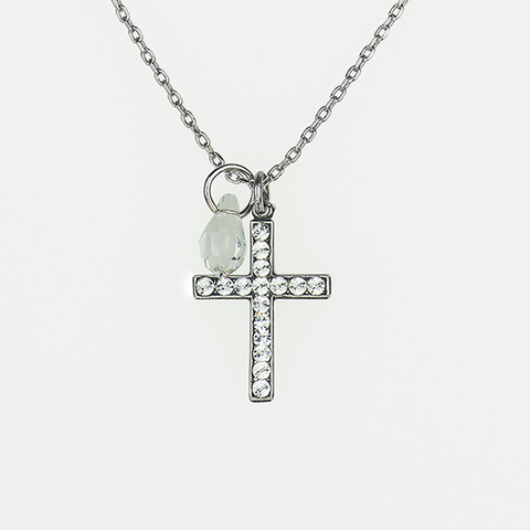 Mariana Cross Necklace Clear on Silver