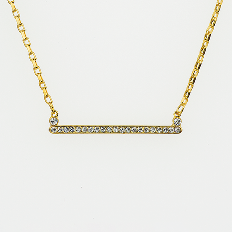 Mariana Slender Bar Necklace in Clear on Gold