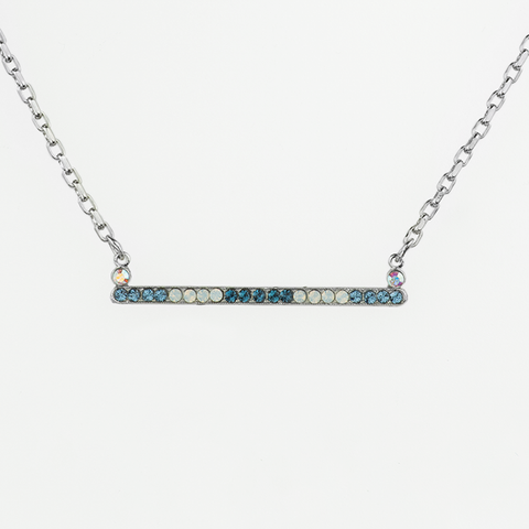 Mariana Slender Bar Necklace in Mood Indigo on Silver