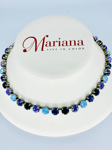 Mariana Necklace in Multi Purple on Silver
