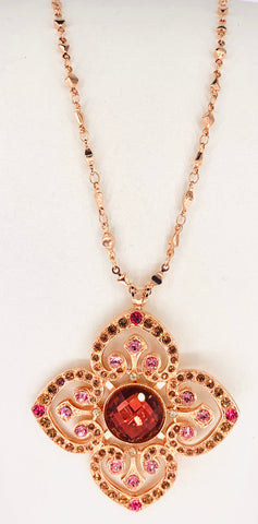 Mariana Long Pendant in Gingerbread on Rose Gold