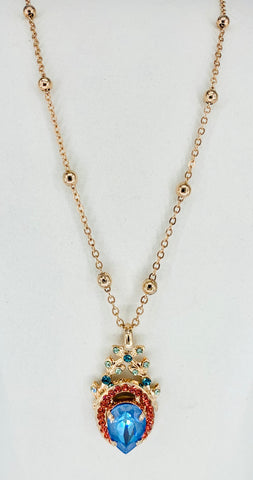 Mariana Long Pendant in Bird of Paradise on Rose Gold