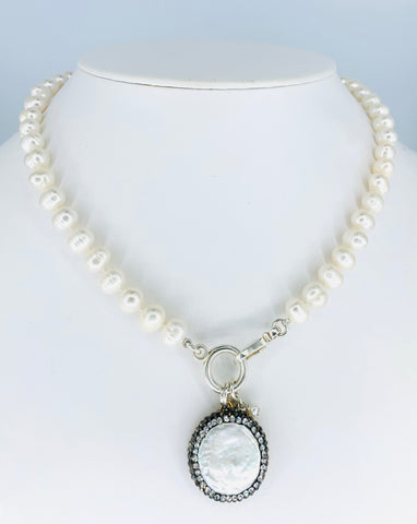 Pearl Necklace with Pearl and Marcasite Enhancer