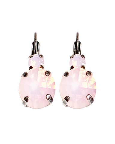 Mariana Earrings Double Drop  in Pale Pink on Silver