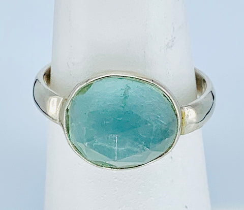 Sterling Ring With Faceted Apatite Size 6