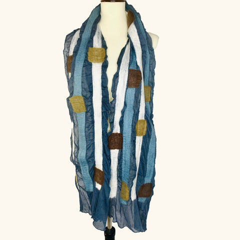 Blue Squares and Stripes Scarf