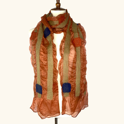 Orange Squares and Stripes Scarf