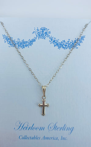 Sterling Tiny Cross Necklace