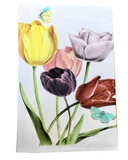 Tulips and Butterflies Tea Towel