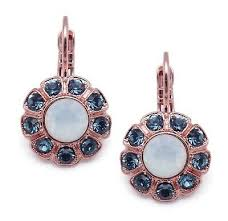 Mariana Flower Earring Mood Indigo on Rose Gold