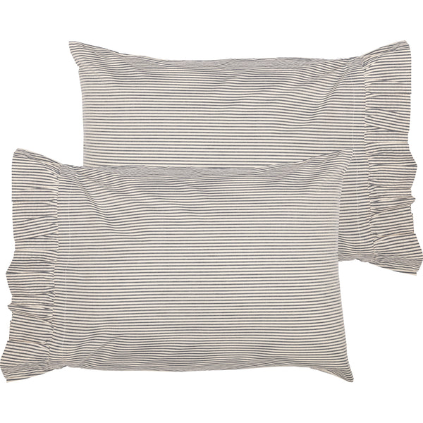 Hatteras Seersucker Blue Ticking Stripe Pillow Case Set