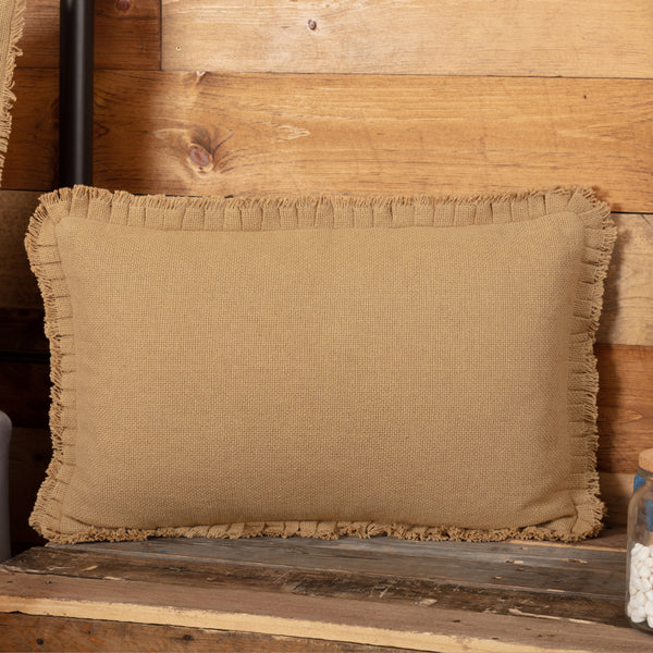 Burlap Pillow with Fringed Ruffle 14x22