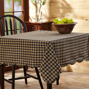 Navy Check Scalloped Table Cloth