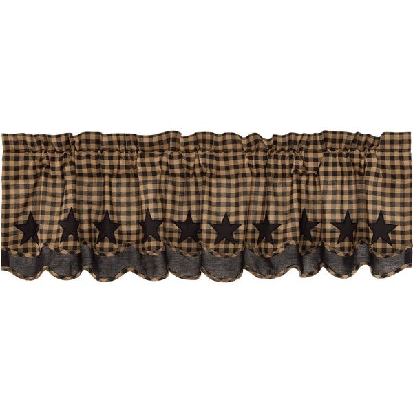 Black Star Scalloped Layered Valance