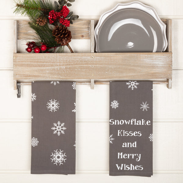 Snowflake Burlap Snowflake Kisses Tea Towel Set of 2