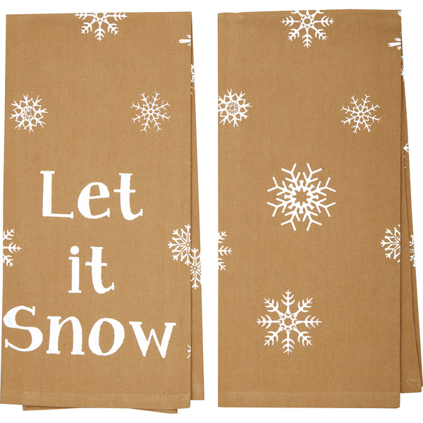 Snowflake Burlap Let it Snow Tea Towel Set of 2