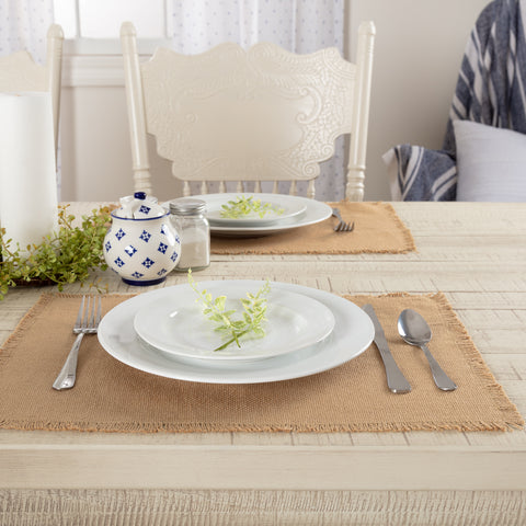 Burlap Placemat Fringed Set of 6 12x18