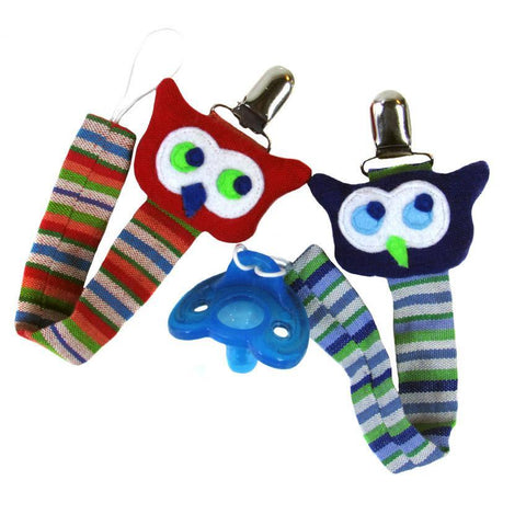 handmade lanyards for pacifiers with multicolored owls