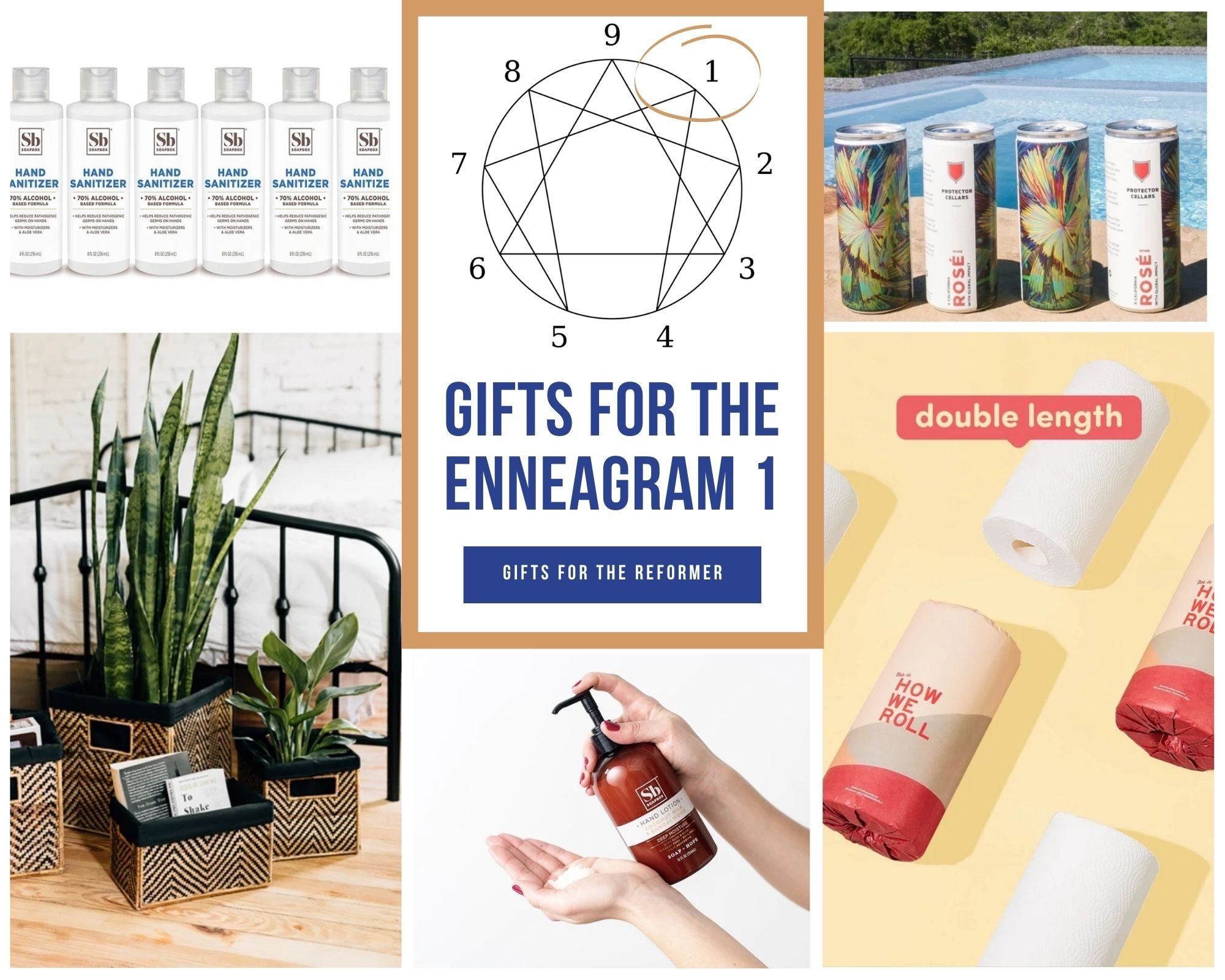 gifts for enneagram 1s with paper towels, wine, hand sanitizer, lotion, organizers