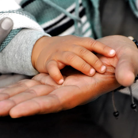 an adult holding a child's hands